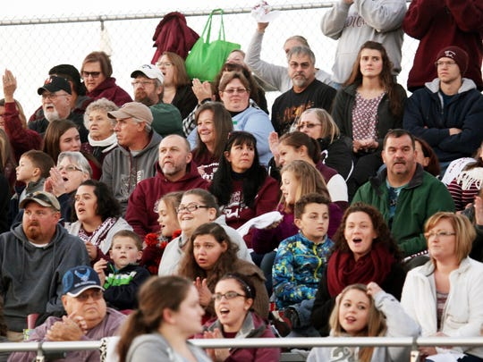 Stuarts Draft fans fill the stands two hours before kickoff at the game against Riverheads on Friday, Nov. 4, 2016 at Stuarts Draft.