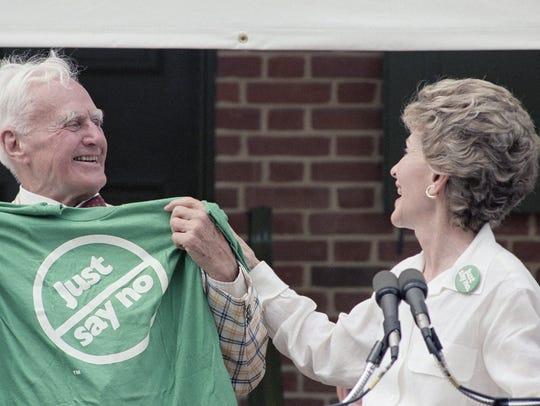 First Lady Nancy Reagan presents a 'Just Say No' T-shirt