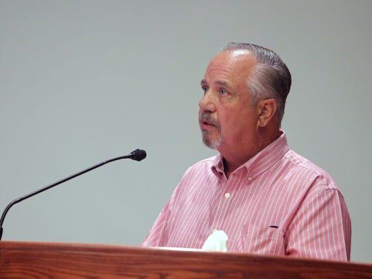 Bill Feeser speaks Tuesday before the Redding Planning