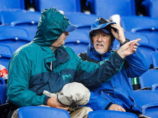 Memphis fans enjoy themselves during a rain delay against SMU during fourth quarter action in Memphis, Tenn., Saturday, November 18, 2017.