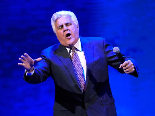 Comedian Jay Leno performs at the Vegas Strong Benefit