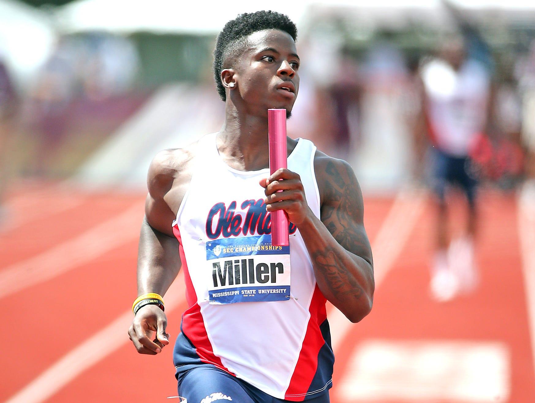 Jalen Miller runs at the SEC Outdoor Championships in Starkville, MS.