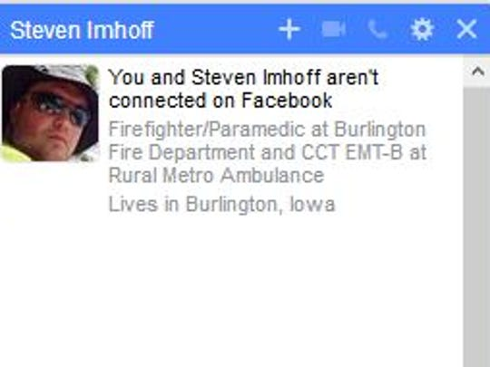 Steven Imhoff continues to identify as a Burlington firefighter and paramedic even though he hasn't worked for the city in at least two years.  On Wednesday, June, 20, 2018, the city's fire chief asked him to remove the reference following a series of social media posts critical of Autumn Steele, a mother who was accidentally shot and killed by a cop in 2015.