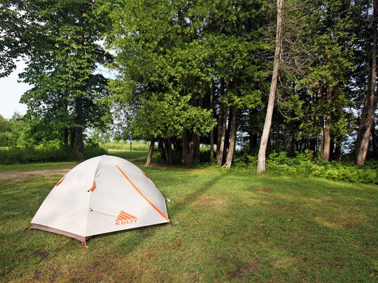 Rustic campsites line Lake Michigan in J.W. Wells State Park in Michigan's Upper Peninsula.