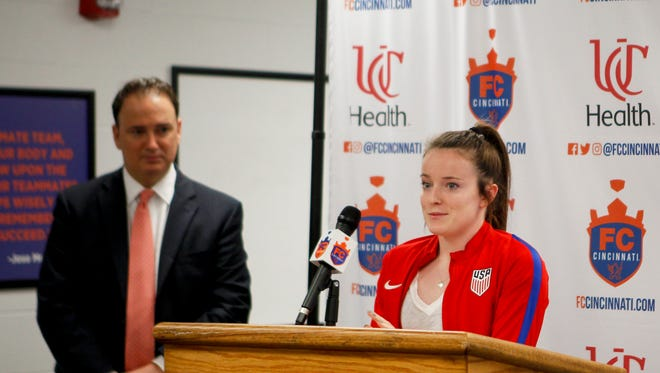 US women's national team star and Cincinnati native Rose Lavelle speaks at a press conference after FC Cincinnati announced they will host a friendly between the USWNT and New Zealand Friday, July 7, 2017 at Nippert Stadium. The match will be held on September 19, 2017.