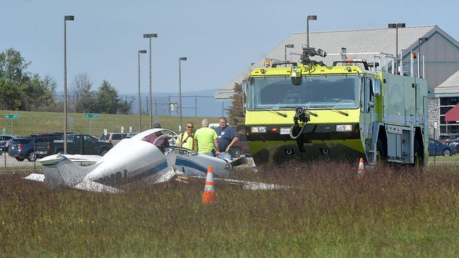 Emergency crews from Hagerstown Regional Airport and Maugansville Volunteer Fire Department responded to a plane that crashed Wednesday on Showalter Road near the airport. No injuries were reported. Colleen McGrath