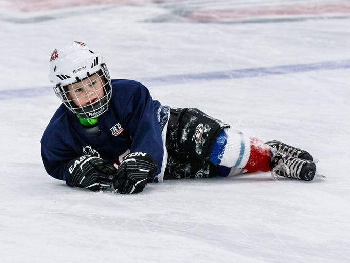 Six-year-old Ryan Foley of Hartland takes a spill during