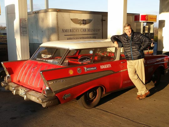 The Detroit News' Henry Payne piloted the 1957, Corvette-inspired, Chevy Nomad wagon on the Kansas City-to-St. Louis leg of The Drive Home.