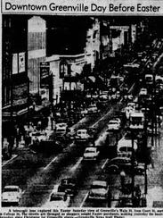 A photo of a bustling downtown Greenville in 1954.
