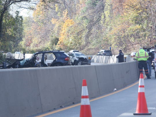 Two vehicles were involved in a pre-dawn crash on the northbound Saw Mill River Parkway in Yonkers on Thursday.