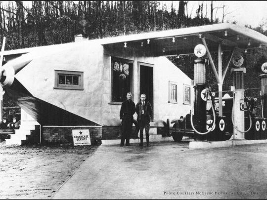 Brothers Henry and Elmer Nickle and their airplane filling station on Clinton Highway ca. 1930.