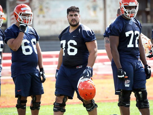 UTEP senior offensive lineman Will Hernandez, 76, is a pre-season second team All-American. He is pictured at the team's Camp Ruidoso on Aug. 8, 2017. Hernandez is expected to be a first- or second-round pick in the 2018 NFL Draft.