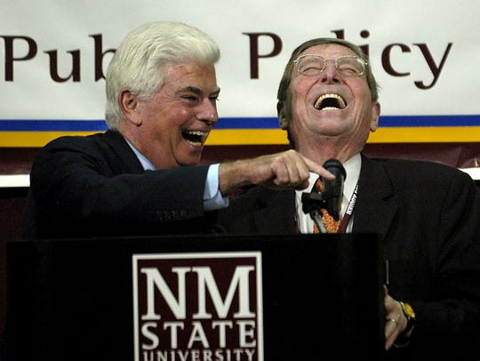 Sen.Christopher J. Dodd, D-Conn., left, shares a good