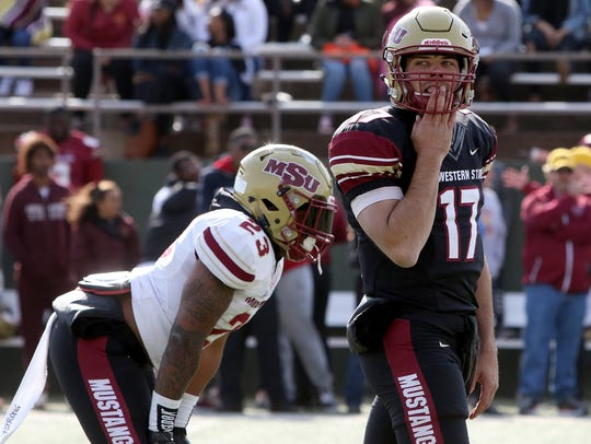 Midwestern State's Hagen Hutchinson looks to the sideline