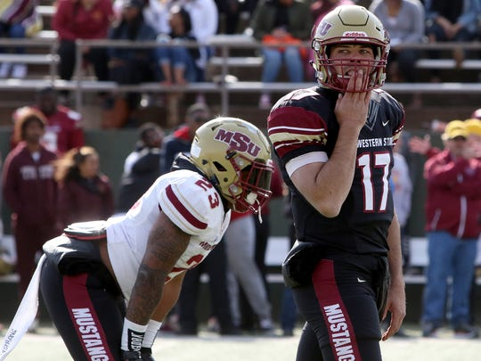 Midwestern State's Hagen Hutchinson looks to the sideline Saturday, April 14, 2018, in the 30th Annual Maroon and Gold Spring Game at Memorial Stadium.