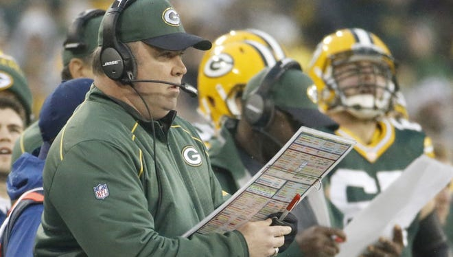 Green Bay Packers coach Mike McCarthy calls a play against the Dallas Cowboys on Dec. 13, 2015.