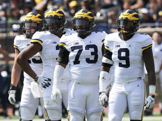 Michigan defenders from left: Chase Winovich, Rashan Gary, Maurice Hurst and Mike McCray in the spring game Saturday, April 15, 2017 at Michigan Stadium in Ann Arbor.