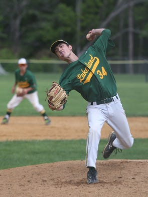 Lakeland's Chris DiDomizio (34) pitching against Nyack during the Section 1 Class A first round boys baseball playoff game at Nyack High School May 24, 2014. Lakeland won the game 3-2.