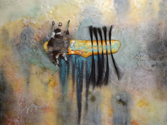 """Artist Michael Billie will talk about his encaustic work, including the piece """"Five Brush Strokes,"""" during a presentation this weekend at the Identity Inc. Community Center."""