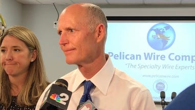 Gov. Rick Scott visits Pelican Wire Co. for a jobs report on Friday, April 21, 2017.