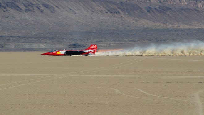 North American Eagle jet car on the Alvord Desert in 2016.