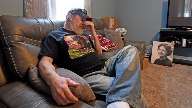 Jimmy Trine Jr. breaks down as he recalls discovering his mother's body, as a boy, after school in 1976. Trine's neighbor at the time was Todd Walker, who was 17 at the time. Walker was convicted of murdering Jimmy's mother, Linda Trine (in background photo) and will be up for parole soon.