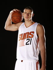 Alex Len during Phoenix Suns at media day on Sep. 28,