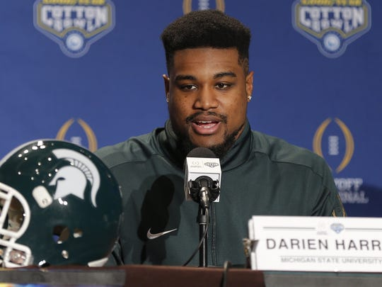 Michigan State linebacker Darien Harris answers questions during a news conference for the NCAA Cotton Bowl college football game against Alabama, Sunday, Dec. 27, 2015, in Dallas.