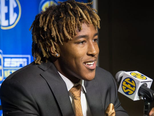 Kentucky Wildcats running back Benny Snell answering