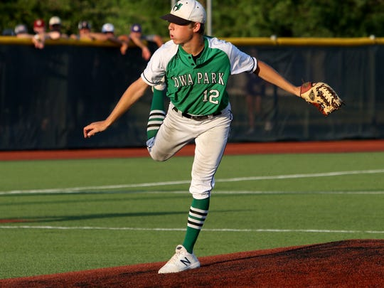 Iowa Park's Kaleb Gafford pitches against Godley in Game 3 of the Region I-4A finals Friday, June 1, 2018, at Northwest High School in Justin.