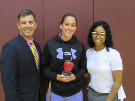 From left, Dr. Philip Wagner, Superintendent, Licking Heights Local School District; Michelle Lisy, physical education teacher, Licking Heights Central Middle School and Tiffane' Warren, school principal.