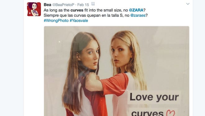 People are slamming Zara on social media after the fast fashion retailer used two thin models in an advertisement telling women to embrace their curves.
