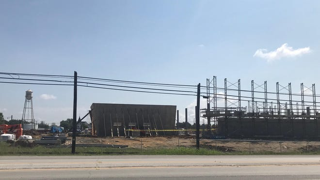 Work continues Sept. 14 on the new Anna Central Fire Station. The building is the first phase of the city's future municipal complex, which will also eventually include a new City Hall, government offices and police station.