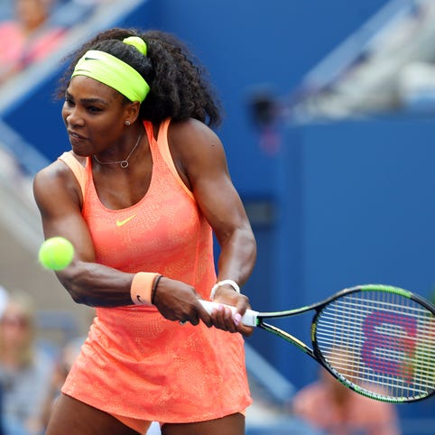 Serena Williams returns a shot to Kiki Bertens during the second round of the U.S. Open on Sept. 2, 2015