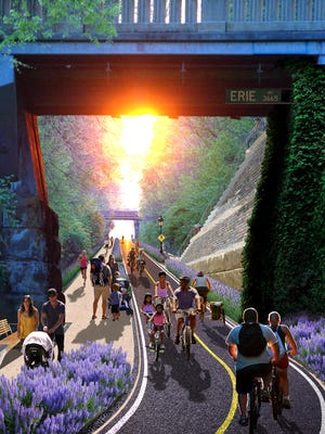 A rendering of the Wasson Way bike and pedestrian trail.