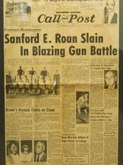 Front page of the Call and Post that shows a story regarding the death of Sanford Roan.