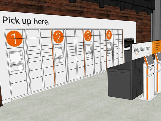 Rendering of the Amazon.com package pickup center that
