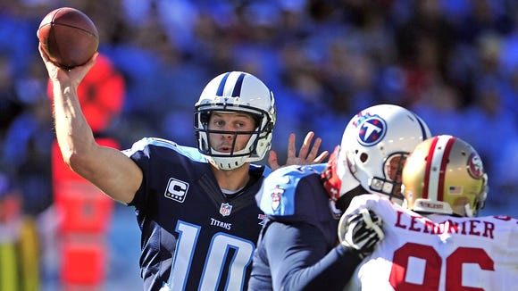 The Titans wore navy blue last season against the 49ers and Jaguars.
