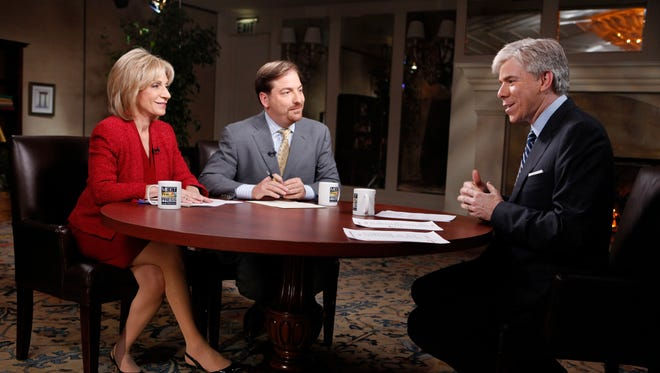 """Chuck Todd, center, will take over NBC's venerable """"Meet the Press"""" from David Gregory, right."""