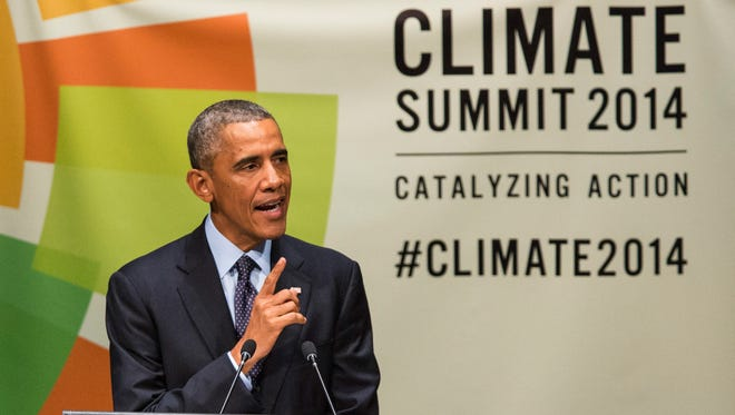 President Obama speaks at the United Nations Climate Summit on Sept. 23, 2014, in New York City.