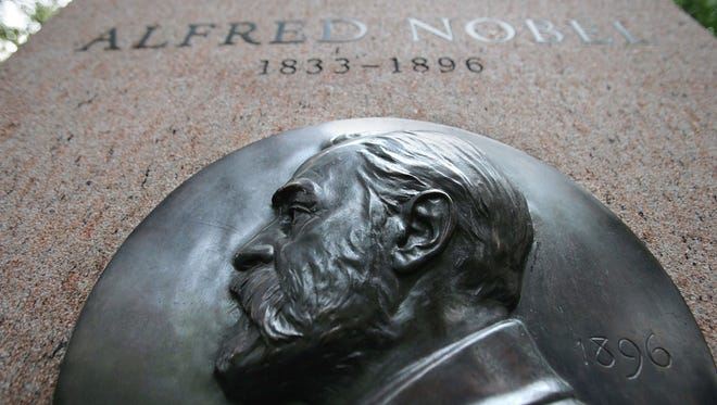 A monument to Nobel Prize founder Alfred Nobel in New York City.