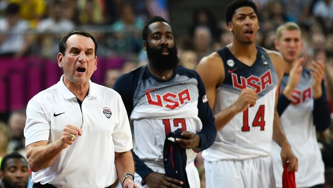 USA coach Mike Krzyzewski doesn't have as stacked a roster as he expected but has made due.