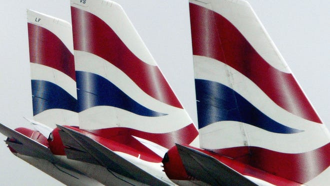 British Airways aircraft are seen at Heathrow airport on May 16, 2003, in London.