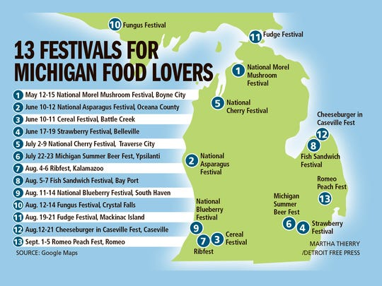 Festivals celebrating Michigan food happen throughout the state.