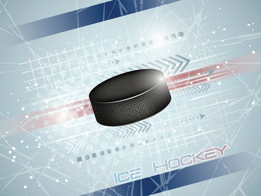 Hockey puck on the ice, vector illustration