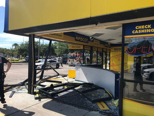 Vehicle smashes into store