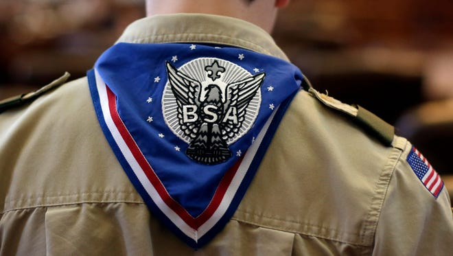 A Boy Scout wears an Eagle Scout neckerchief  at the Texas State Capitol in 2013.