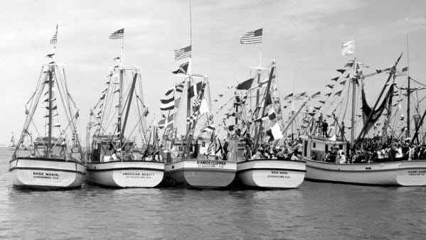 Shown are shrimp boats docked in St. Augustine in 1947.
