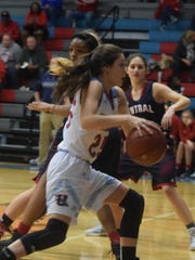 Courtlyn Beaven makes her way to the basket during the game Friday night. The Bravettes fell to Hopkins Co. Central after taking an early lead.
