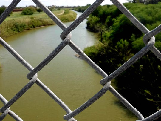 The Rio Grande, seen from the border bridge in Brownsville,